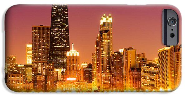 Hancock Building iPhone Cases - Chicago Night Skyline with John Hancock Building iPhone Case by Paul Velgos