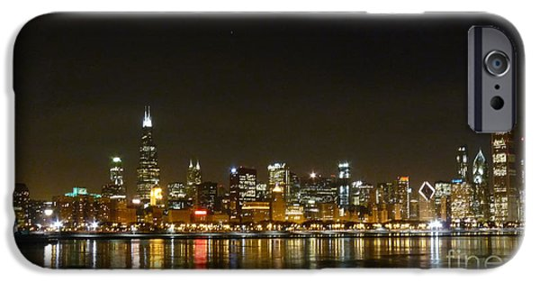 Willis Tower iPhone Cases - Chicago Nightline iPhone Case by David Bearden