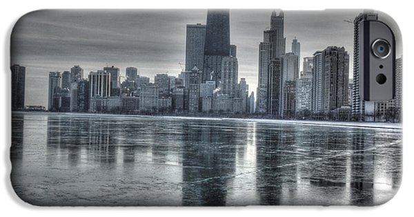 Chicago iPhone Cases - Chicago on thin ice iPhone Case by David Bearden