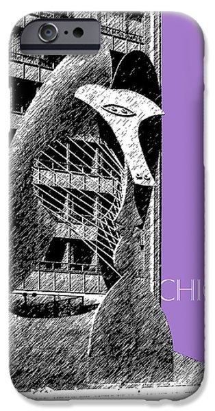 Pen And Ink Digital Art iPhone Cases - Chicago Pablo Picasso - Violet iPhone Case by DB Artist