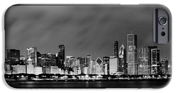 Chicago Photographs iPhone Cases - Chicago Panorama at Night iPhone Case by Sebastian Musial