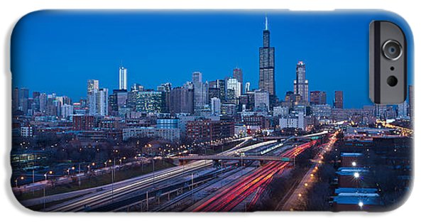 Willis Tower iPhone Cases - Chicago Panorama iPhone Case by Steve Gadomski