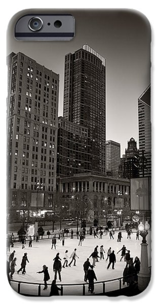 Sears Tower iPhone Cases - Chicago Park Skate BW iPhone Case by Steve Gadomski
