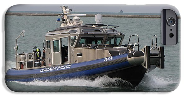 Law Enforcement iPhone Cases - Chicago Police boat on Lake Michigan iPhone Case by Ben Schumin