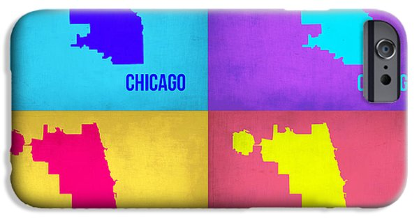 Chicago iPhone Cases - Chicago Pop Art Map 1 iPhone Case by Naxart Studio