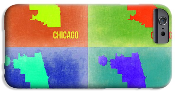 Chicago iPhone Cases - Chicago Pop Art Map 2 iPhone Case by Naxart Studio