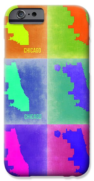 Sears Tower iPhone Cases - Chicago Pop Art Map 3 iPhone Case by Naxart Studio