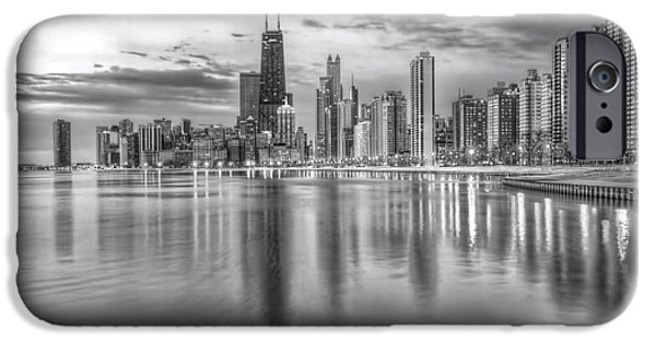 Chicago iPhone Cases - Chicago Reflected BW iPhone Case by Lindley Johnson