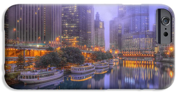 Sears Tower iPhone Cases - Chicago River - Early Morning iPhone Case by Lindley Johnson