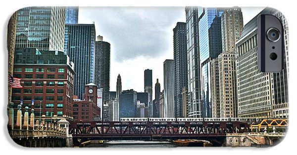 Wrigley iPhone Cases - Chicago River and City iPhone Case by Frozen in Time Fine Art Photography