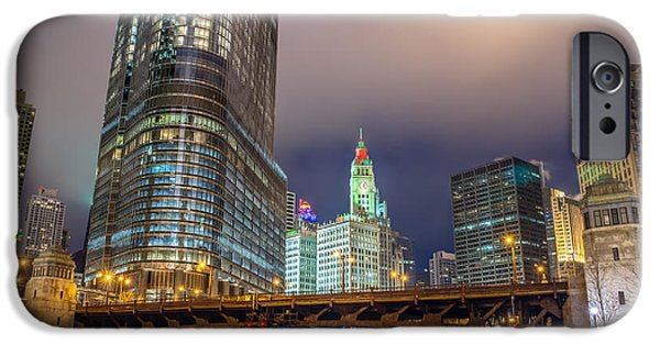 Wrigley iPhone Cases - Chicago River and Skyscrapers iPhone Case by Jess Kraft