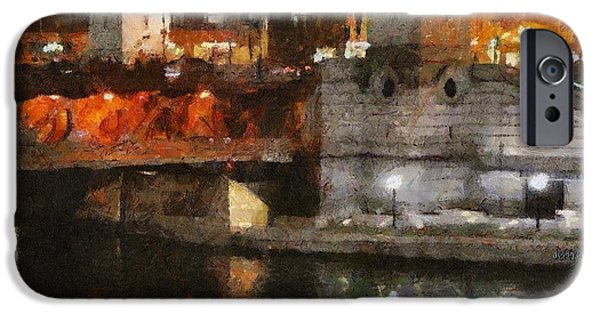 Architecture Digital Art iPhone Cases - Chicago River at Michigan Avenue iPhone Case by Jeff Kolker