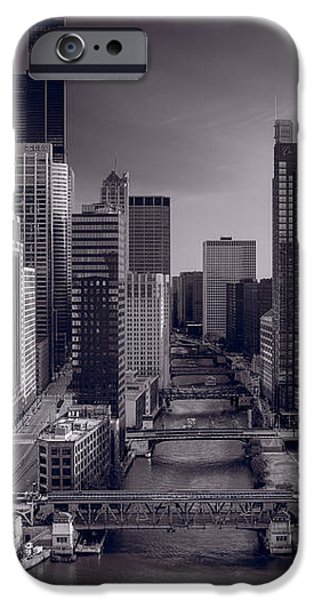 Willis Tower iPhone Cases - Chicago River Bridges South BW iPhone Case by Steve Gadomski