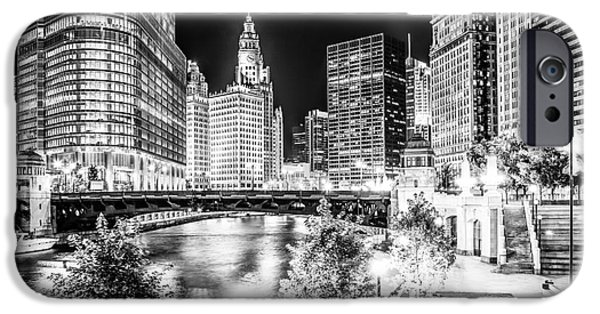 Wrigley iPhone Cases - Chicago River Buildings at Night in Black and White iPhone Case by Paul Velgos