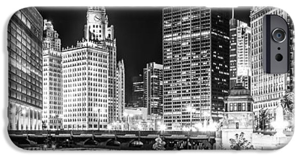 Wrigley iPhone Cases - Chicago River Cityscape Panorama Photo with Wabash Bridge  iPhone Case by Paul Velgos