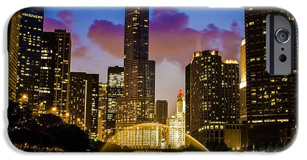 Wrigley iPhone Cases - Chicago River Dusk Scene iPhone Case by Sven Brogren
