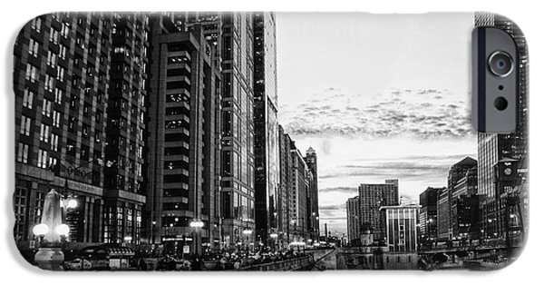 Chicago Cubs Mixed Media iPhone Cases - Chicago River HDR BW iPhone Case by Thomas Woolworth
