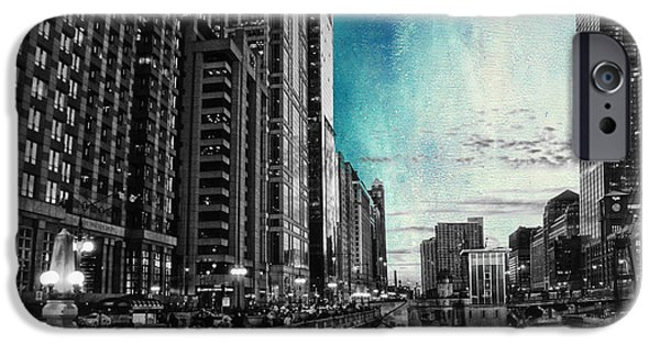 Facade Mixed Media iPhone Cases - Chicago River HDR SC Textured iPhone Case by Thomas Woolworth