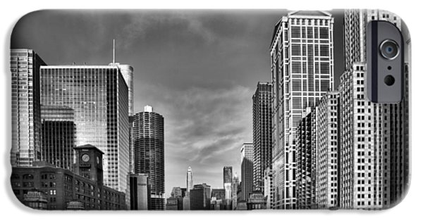 Day iPhone Cases - Chicago River in Black and White iPhone Case by Sebastian Musial