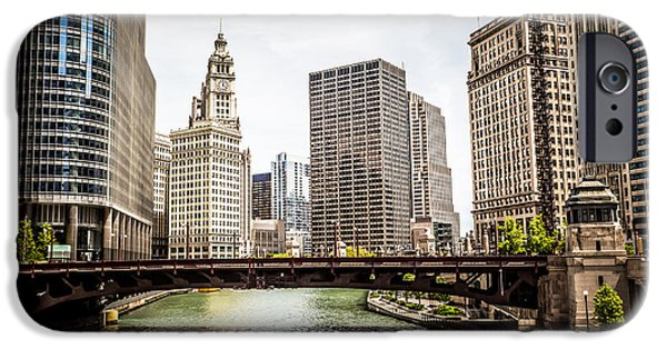 Wrigley iPhone Cases - Chicago River Skyline at Wabash Avenue Bridge iPhone Case by Paul Velgos