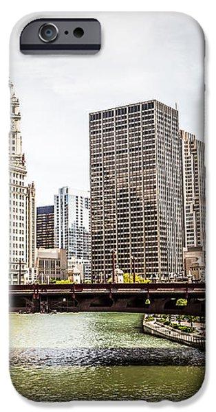 Chicago River Skyline at Wabash Avenue Bridge iPhone Case by Paul Velgos