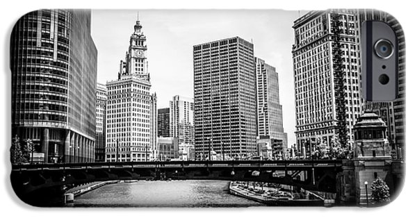 Wrigley iPhone Cases - Chicago River Skyline in Black and White iPhone Case by Paul Velgos