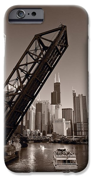 Chicago River Traffic BW iPhone Case by Steve Gadomski