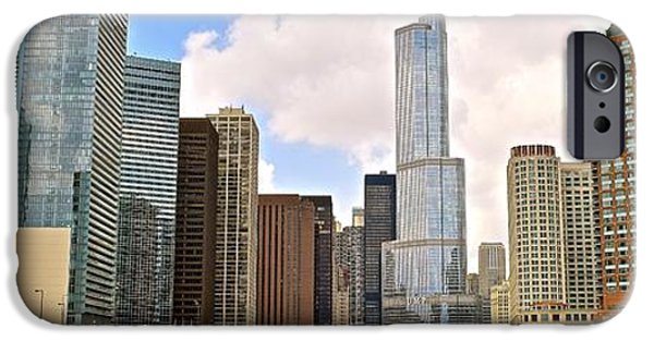 Willis Tower iPhone Cases - Chicago River View Panorama iPhone Case by Frozen in Time Fine Art Photography