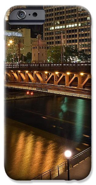 Wrigley iPhone Cases - Chicago River Walk iPhone Case by Frozen in Time Fine Art Photography