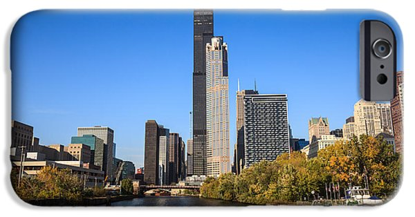 Sears Tower iPhone Cases - Chicago River with Willis-Sears Tower iPhone Case by Paul Velgos