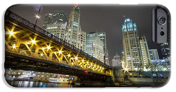 Wrigley iPhone Cases - Chicago Riverwalk at Night iPhone Case by Jackie Novak