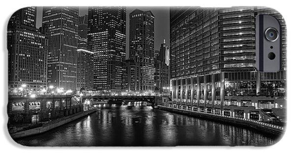 City Lights iPhone Cases - Chicago Riverwalk iPhone Case by Eddie Yerkish