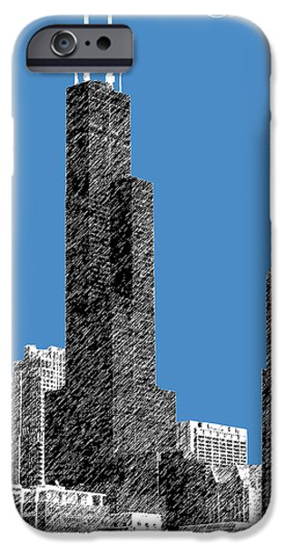 Pen And Ink Digital Art iPhone Cases - Chicago Sears Tower - Slate iPhone Case by DB Artist