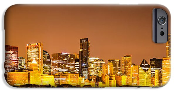 Sears Tower iPhone Cases - Chicago Skyine at Night Panoramic Photo iPhone Case by Paul Velgos
