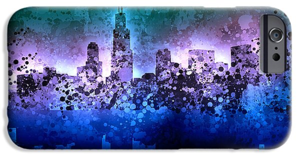 Chicago iPhone Cases - Chicago Skyline Abstract 2 iPhone Case by MB Art factory