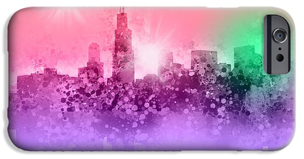 Chicago iPhone Cases - Chicago Skyline Abstract 3 iPhone Case by MB Art factory