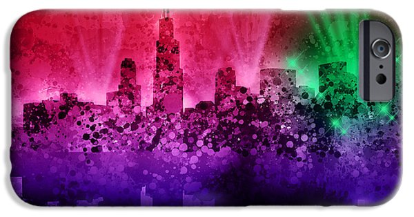 Chicago iPhone Cases - Chicago Skyline Abstract 4 iPhone Case by MB Art factory
