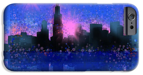 Chicago iPhone Cases - Chicago Skyline Abstract 5 iPhone Case by MB Art factory