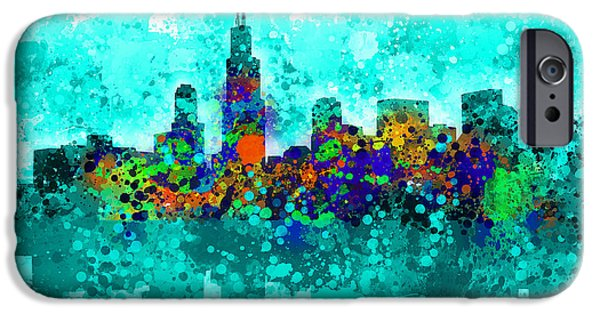 Chicago iPhone Cases - Chicago Skyline Abstract iPhone Case by MB Art factory