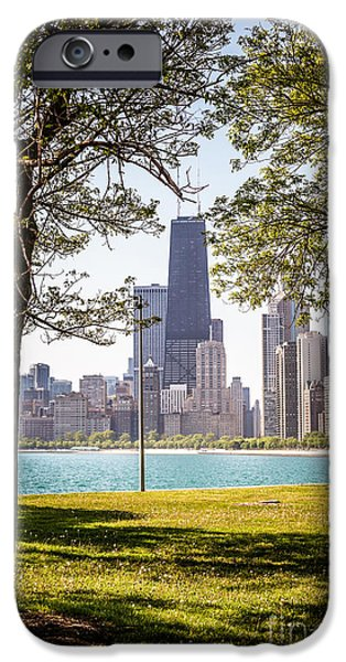 Hancock Building iPhone Cases - Chicago Skyline and Hancock Building Through Trees iPhone Case by Paul Velgos