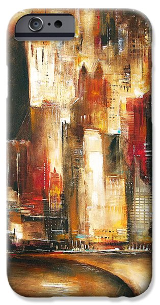 Chicago Paintings iPhone Cases - Chicago From Oak Beach iPhone Case by Kathleen Patrick