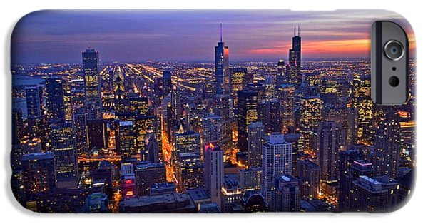 Willis Tower iPhone Cases - Chicago Skyline at Dusk from John Hancock Signature Lounge iPhone Case by Jeff at JSJ Photography
