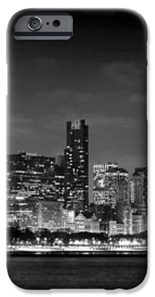 Chicago Skyline at NIGHT black and white iPhone Case by Jon Holiday