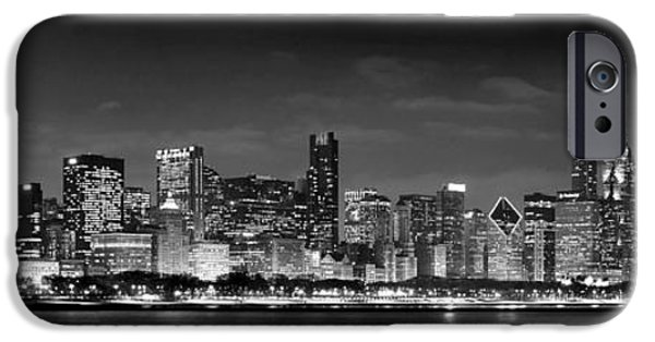City Scene iPhone Cases - Chicago Skyline at NIGHT black and white iPhone Case by Jon Holiday