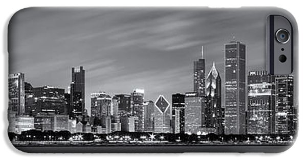 Cave iPhone Cases - Chicago Skyline at Night Black and White Panoramic iPhone Case by Adam Romanowicz