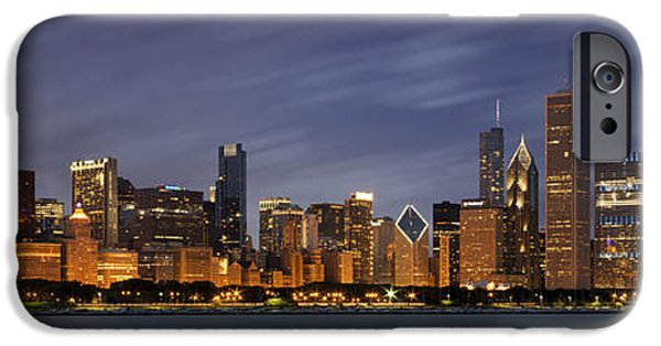 Modern Architecture iPhone Cases - Chicago Skyline at Night Color Panoramic iPhone Case by Adam Romanowicz
