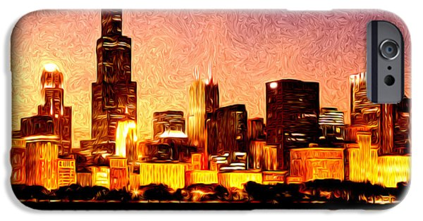 Sears Tower iPhone Cases - Chicago Skyline at Night Digital Painting iPhone Case by Paul Velgos