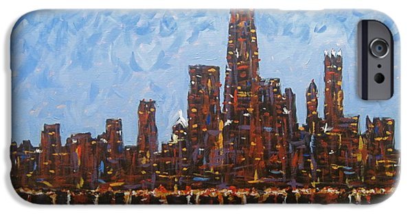 Chicago Paintings iPhone Cases - Chicago Skyline at Night from North Avenue Pier iPhone Case by J Loren Reedy