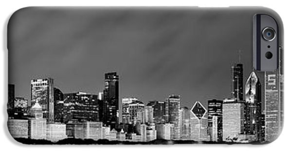 At iPhone Cases - Chicago Skyline at Night in Black and White iPhone Case by Sebastian Musial