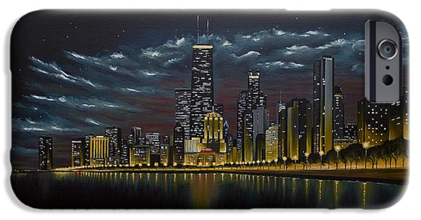 Chicago Paintings iPhone Cases - Chicago Skyline at Night iPhone Case by Nick Buchanan
